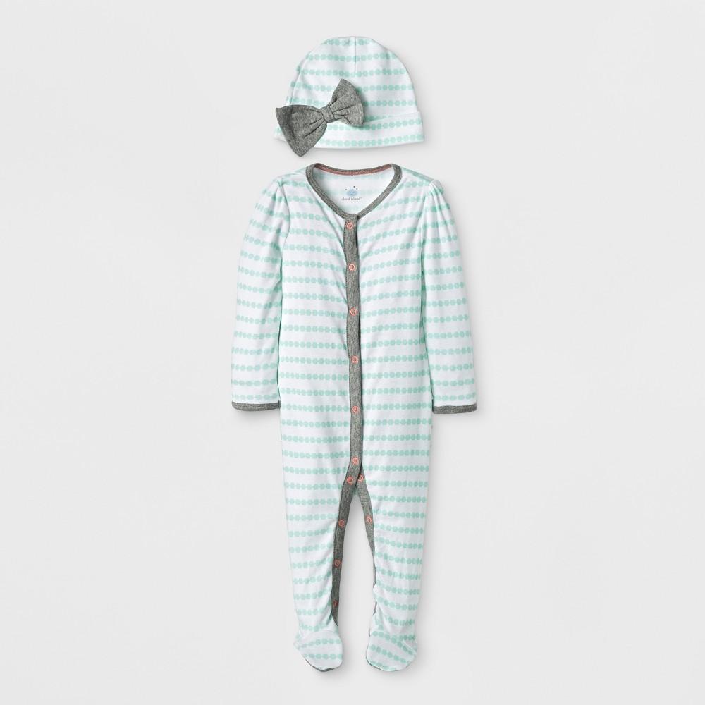 Baby Girls' Geo Bright 2pc Sleep N' Play - Cloud Island White 6-9M