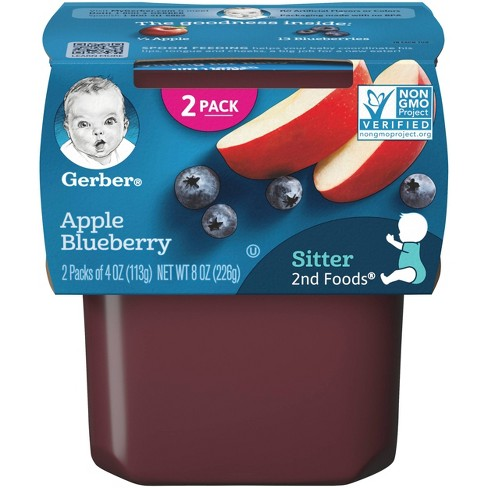 Gerber Sitter 2nd Foods Apple Blueberry Baby Meals - 2ct/4oz Each - image 1 of 4