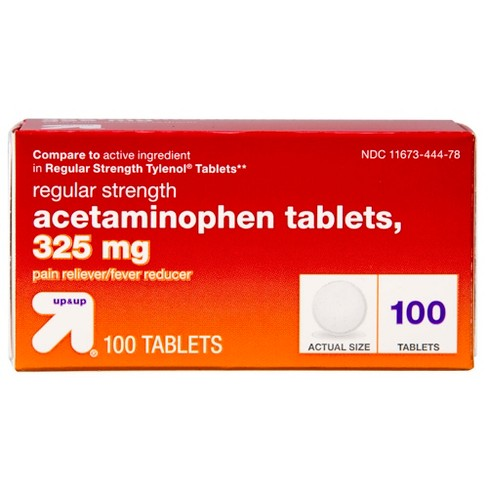 Acetaminophen Regular Strength Pain Reliever & Fever Reducer Tablets - (Compare to Regular Strength Tylenol Tablets) - 100ct - Up&Up™ - image 1 of 2