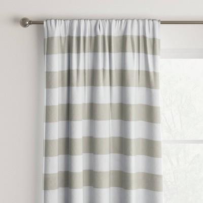 "63""x42"" Heathered Thermal Room Darkening Striped Curtain Panel Tan/White - Room Essentials™"