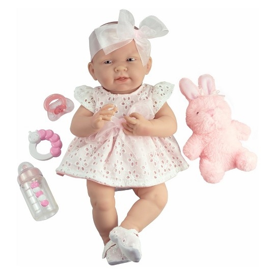 """JC Toys La Newborn 15"""" Girl Doll - White Eyelet Dress with Bunny and Accessories"" image number null"