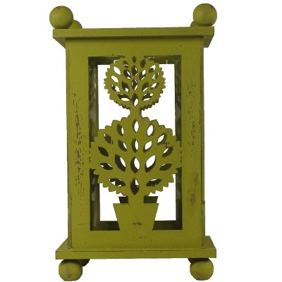 """Melrose 12.5"""" Pistachio Green Distressed Double Ball Tree Cut-Out Pillar Candle Lantern"""