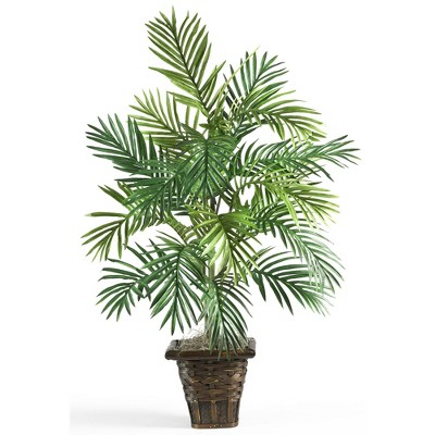3.1ft Artificial Areca Palm with Wicker Basket - Nearly Natural