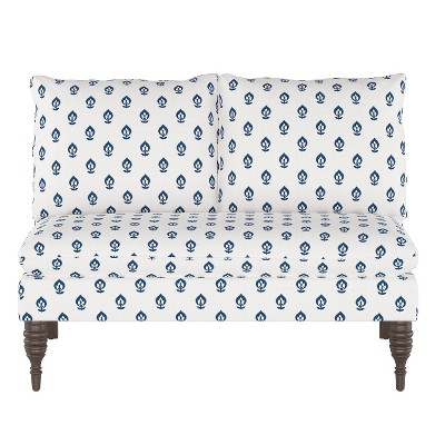 Ashland Love seat Elizabeth Floral Navy - Skyline Furniture