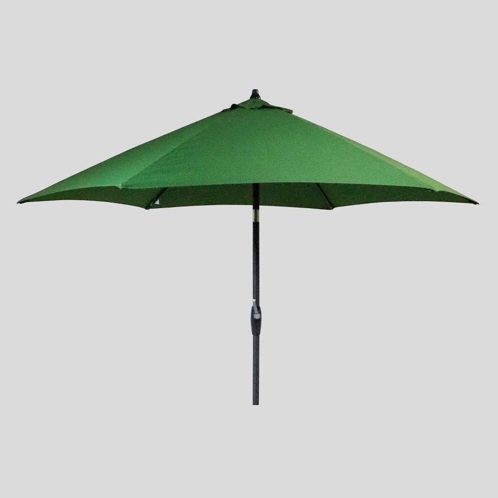 9' Round Patio Umbrella Forest - Black Pole - Threshold , Green