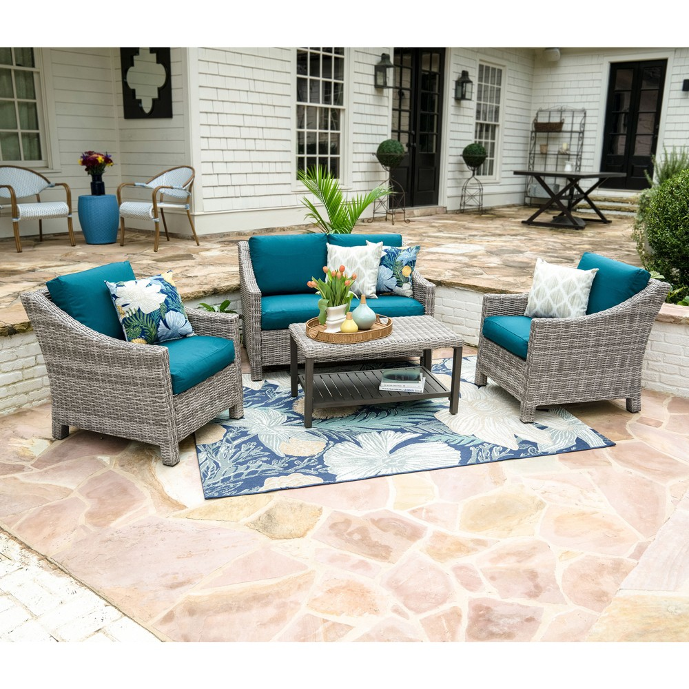 Image of 4pc Marietta All-Weather Wicker Chat Set Teal - Leisure Made