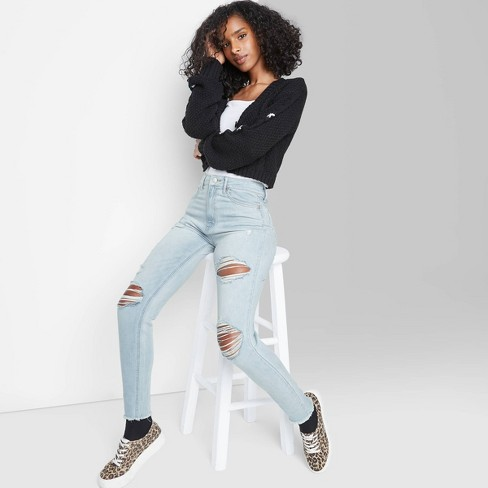 Women's Super-High Rise Distressed Skinny Jeans - Wild Fable™ Light Wash - image 1 of 3