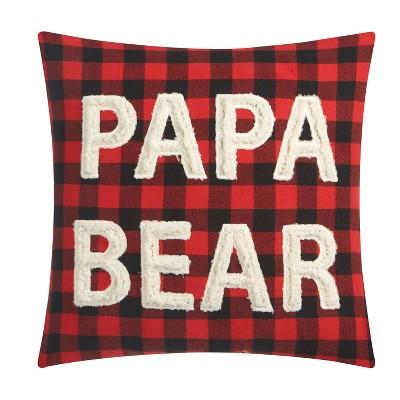 Sherpa Applique Papa Bear Decorative Throw Pillow Red - Dearfoams