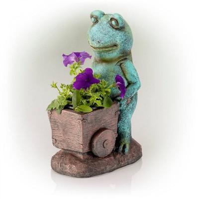 "Alpine 15"" Magnesium Oxide Frog Pushing Wagon Statue Planter"