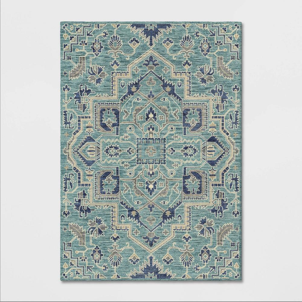 7'X10' Jacquard Tufted Area Rug Teal (Blue) - Opalhouse