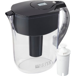 Brita Large 10 Cup BPA Free Water Filter Pitcher with 1 Standard Filter - Black