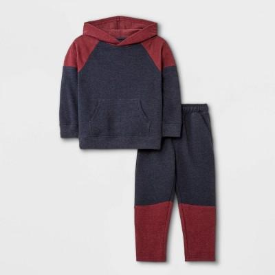 Toddler Boys' 2pc Colorblock Fleece Hoodie and Jogger Pants Set - Cat & Jack™ Maroon