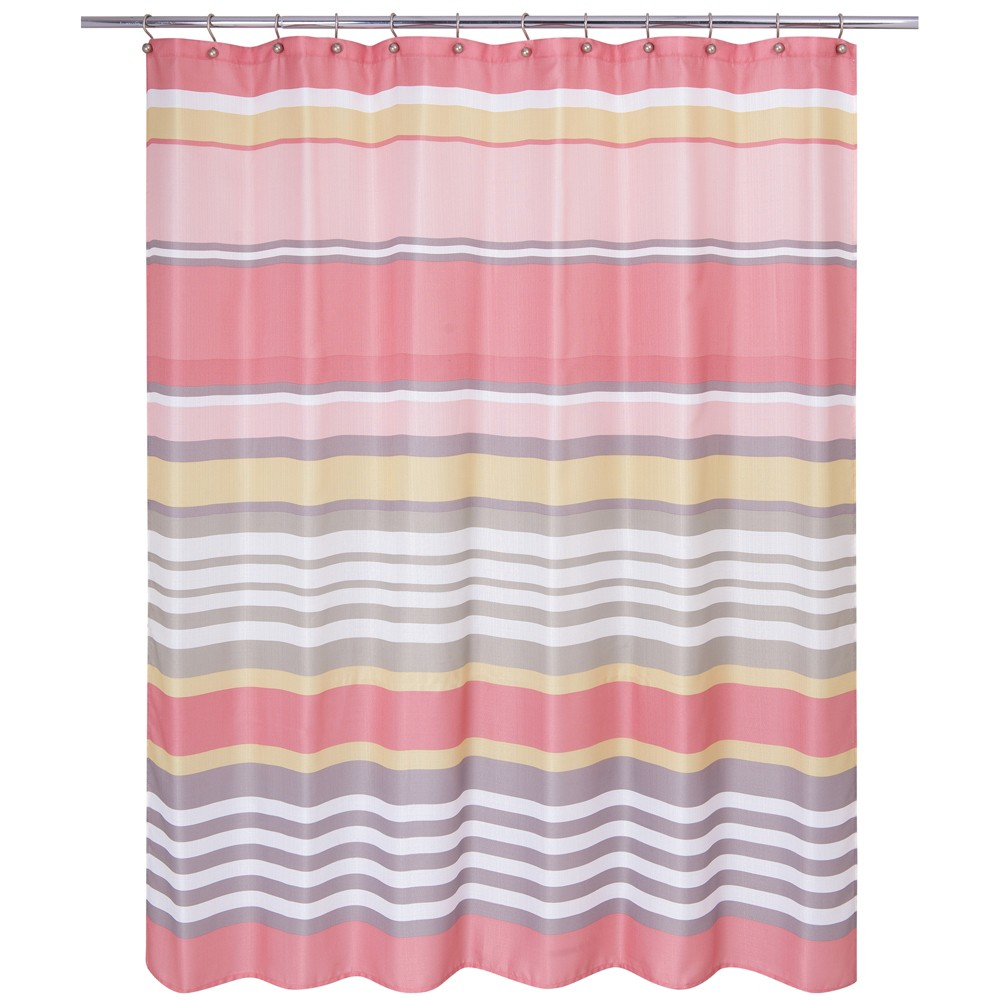 Image of Nantucket Stripe Shower Curtain Peach (Pink) - Allure Home Creation