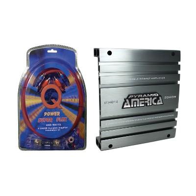QPower 4GAMPKIT-SFLEX Super Flex 4 Gauge 3000 Watt Amplifier Wiring Kit and Pyramid PB918 2000 Watt 2 Channel Car Audio Amplifier w/ Bridgeable MOSFET