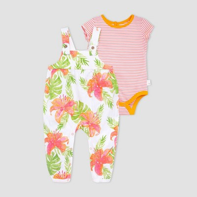Burt's Bees Baby® Baby Girls' Lily Jumpsuit and Bodysuit Set - Coral/Green