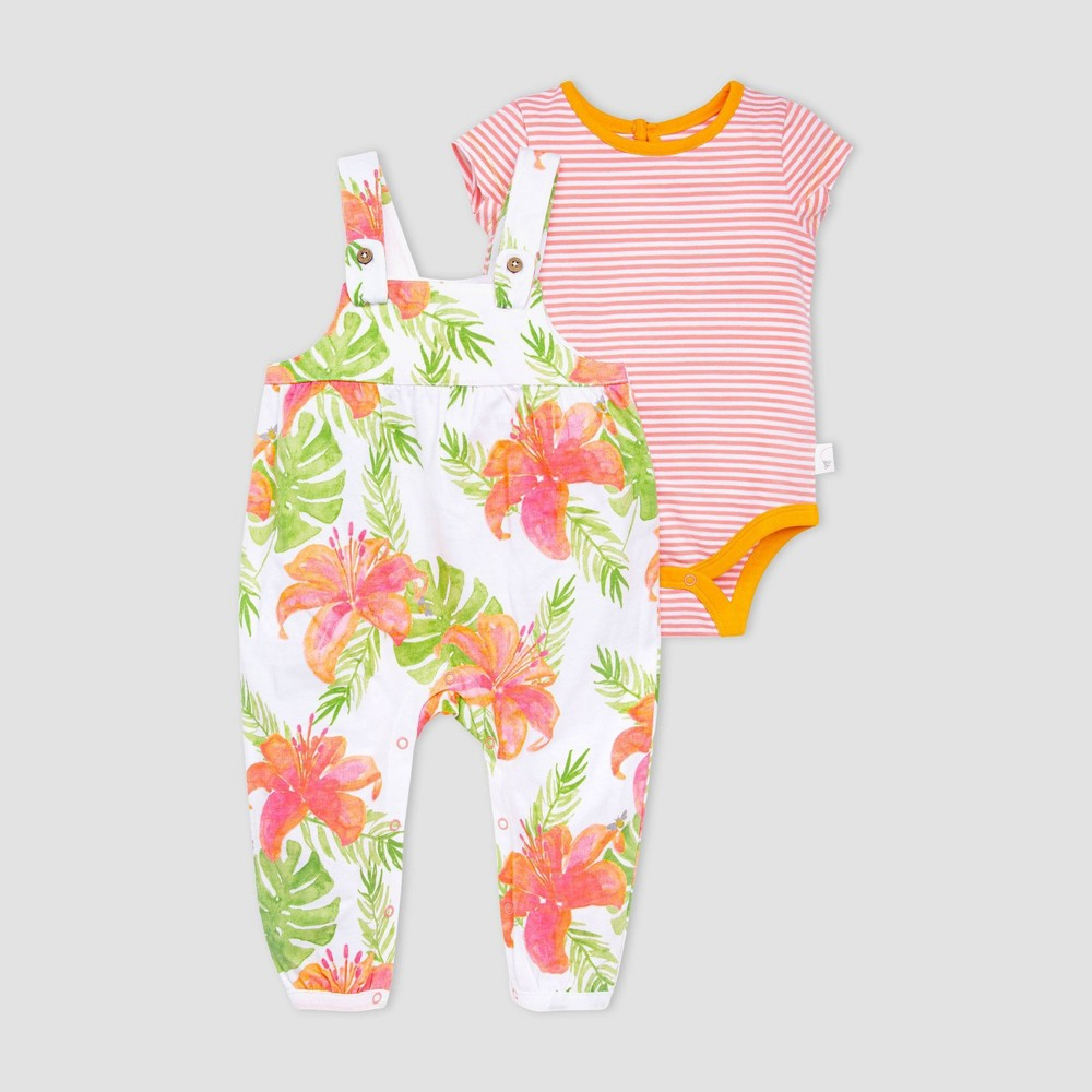 Burt 39 S Bees Baby 174 Baby Girls 39 Lily Jumpsuit And Bodysuit Set Coral Green 24m