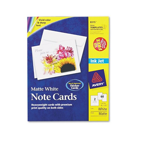 Avery Note Cards for Inkjet Printers 4 1/4 x 5 1/2 Matte White 60/Pack w/Envelopes 8315 - image 1 of 4