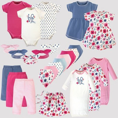 Touched by Nature Baby 25pc Organic Cotton Gift Cube Bodysuit - Garden Floral - Pink/Blue 0-6M