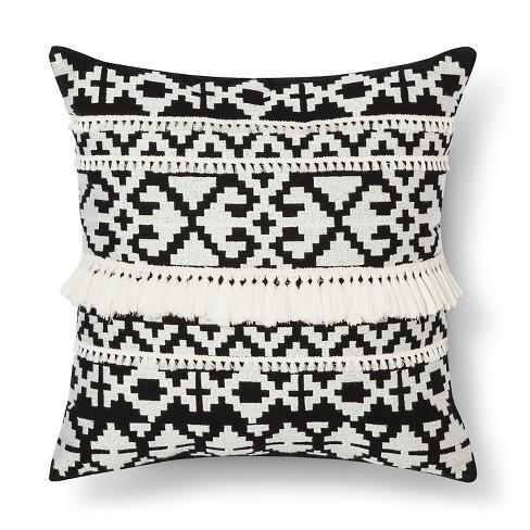Black White Throw Pillow Tassel Threshold Target