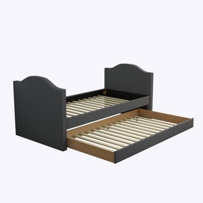 Twin Madigan Faux Leather Upholstered Day Bed and Roll Out Trundle Frame Set - Eco Dream
