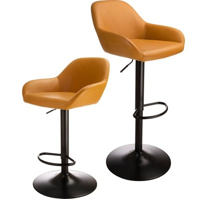 Set of 2 Mid Century Modern Leatherette Gaslift Adjustable Swivel Barstool - Glitzhome