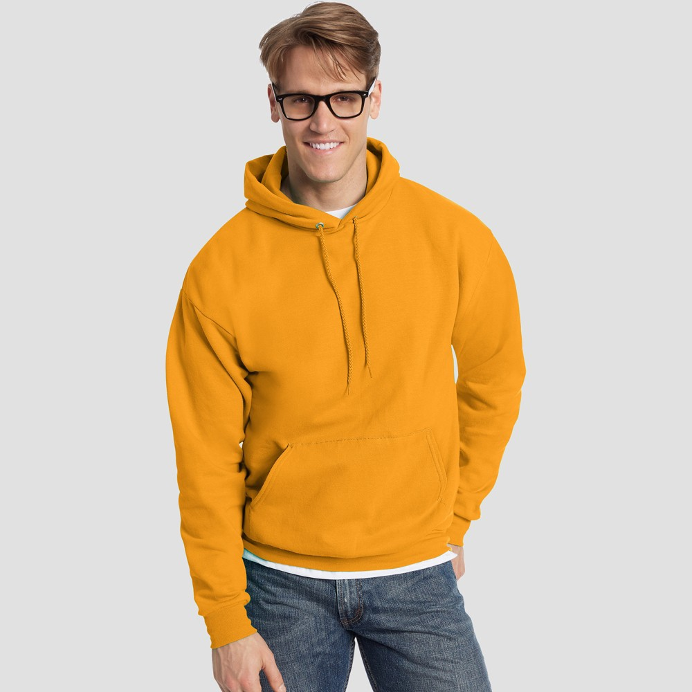 Hanes Men's EcoSmart Fleece Pullover Hooded Sweatshirt - Gold M