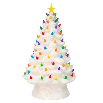 18in Ceramic Lit Tree Decorative Figurine White - Mr. Christmas
