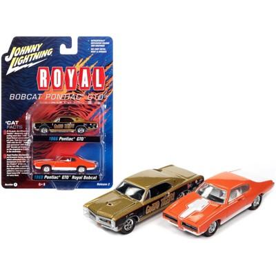 "1966 Pontiac GTO ""GeeTO Tiger"" Gold & 1969 Pontiac GTO Royal Bobcat Orange 2 pc Set 1/64 Diecast Model Cars by Johnny Lightning"