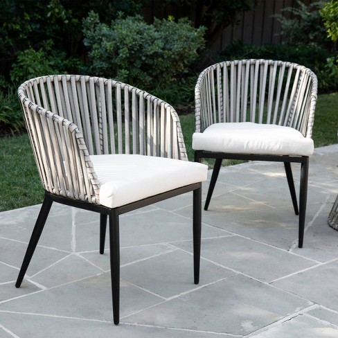 Millani 2pk Outdoor Patio Accent Chairs, White Patio Furniture