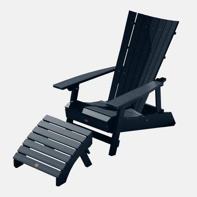 Manhattan Beach 2pc Adirondack Chair with Ottoman Federal Blue - highwood