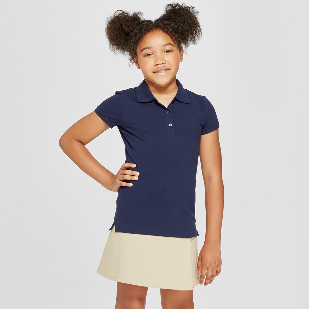 Girls' Short Sleeve Pique Polo Shirt - Cat & Jack Navy (Blue) L
