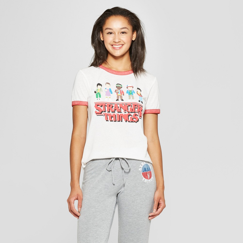 Women's Stranger Things Short Sleeve Character Graphic T-Shirt (Juniors') White M