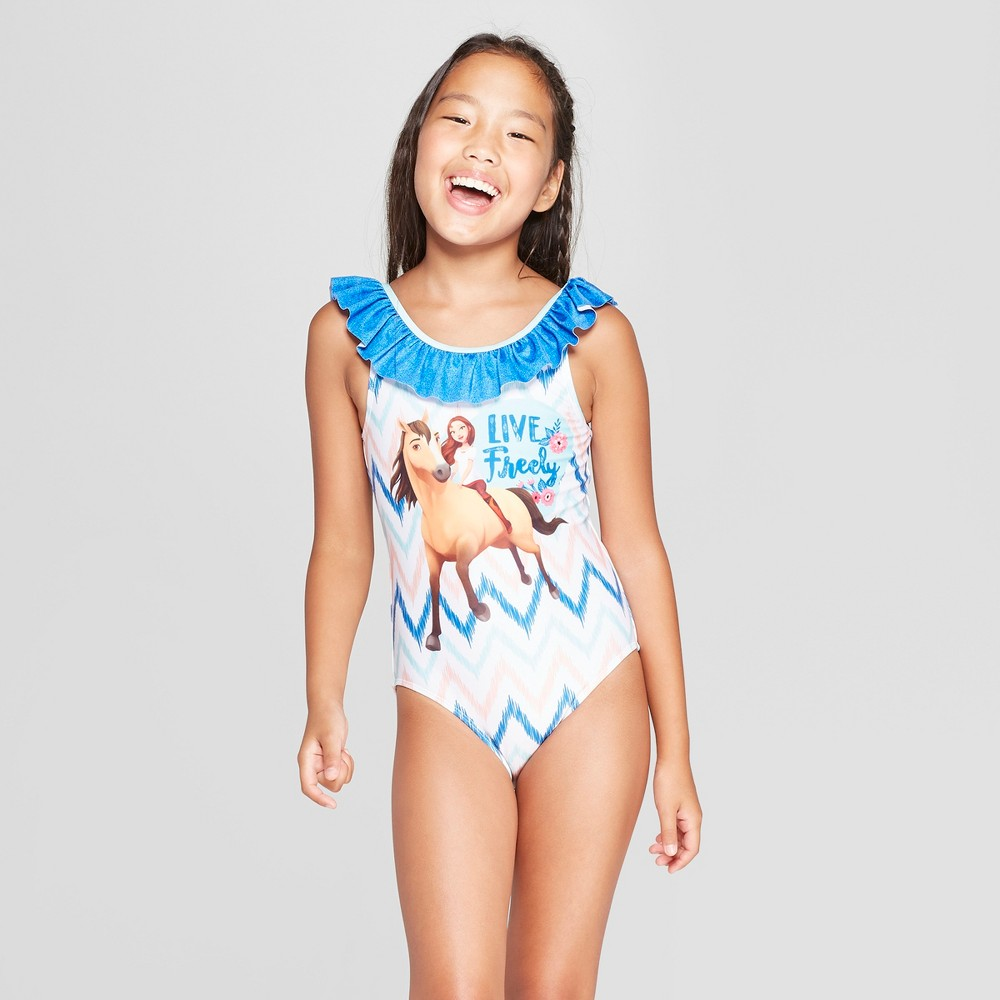 Girls' Spirit Riding Free One Piece Swimsuit - Blue S
