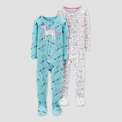 NEW Carter/'s Girls 1 Piece Pajamas PJs Pink Unicorns Rainbows 18m 24m Footed
