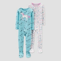 Toddler Girls' Unicorn & Rainbow 100% Cotton Footed Pajama - Just One You® made by carter's Blue