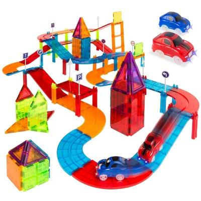 Best Choice Products 105-Piece Kids Magnetic Building Tiles Set, Racetrack Construction Education STEM Toy w/ 2 Cars