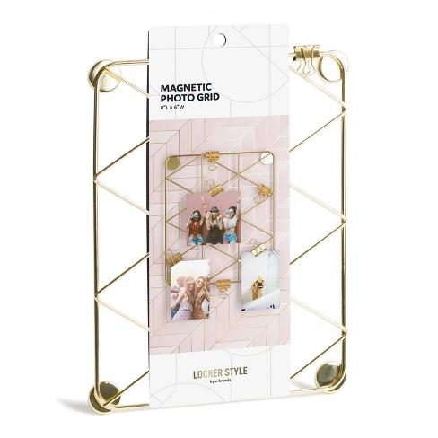 U-Brands Locker Style Magnetic Hanging Photo Grid Gold - image 1 of 3