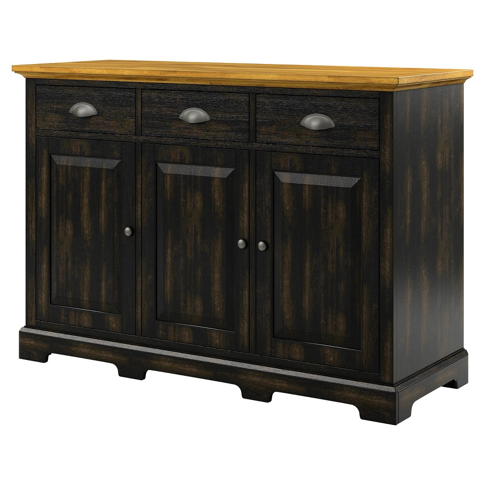 South Hill 3 - Drawer Sideboard Buffet - Antique Black - Inspire Q