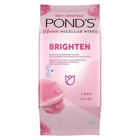 Pond's Vitamin Micellar Brighten Facial Wipes - Vit B3 - Rose - 25ct - image 1 of 4