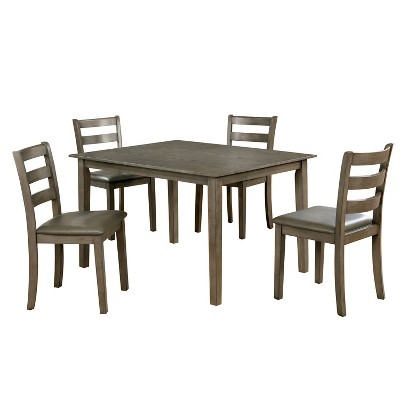 5pc Melham Transitional Wood Dining Table Set Gray - ioHOMES