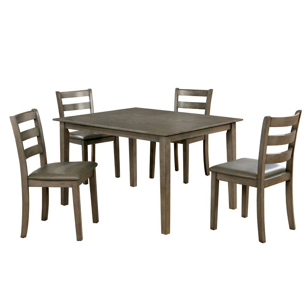 Image of 5pc Melham Transitional Wood Dining Table Set Gray - ioHOMES