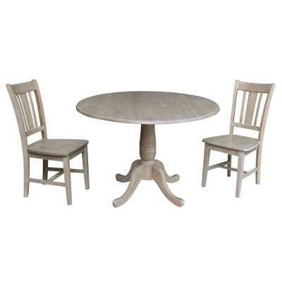 """29.5"""" Jordan Round Top Pedestal Extendable Dining Table with 2 Chairs Washed Gray/Taupe - International Concepts"""