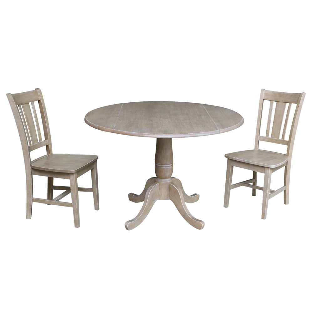 "Image of ""29.5"""" Jordan Round Top Pedestal Table with 2 Chairs Washed Gray Taupe - International Concepts"""