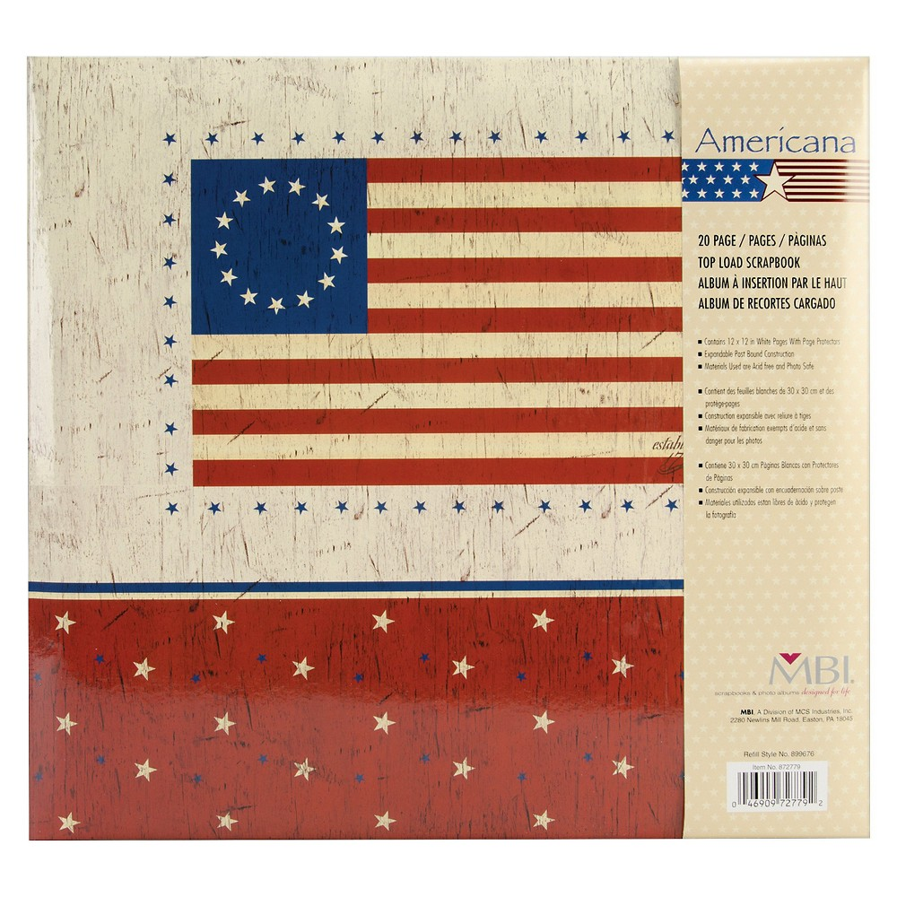 "Image of ""American Flag Post Bound Album - 12""""X12"""", Multi-Colored"""