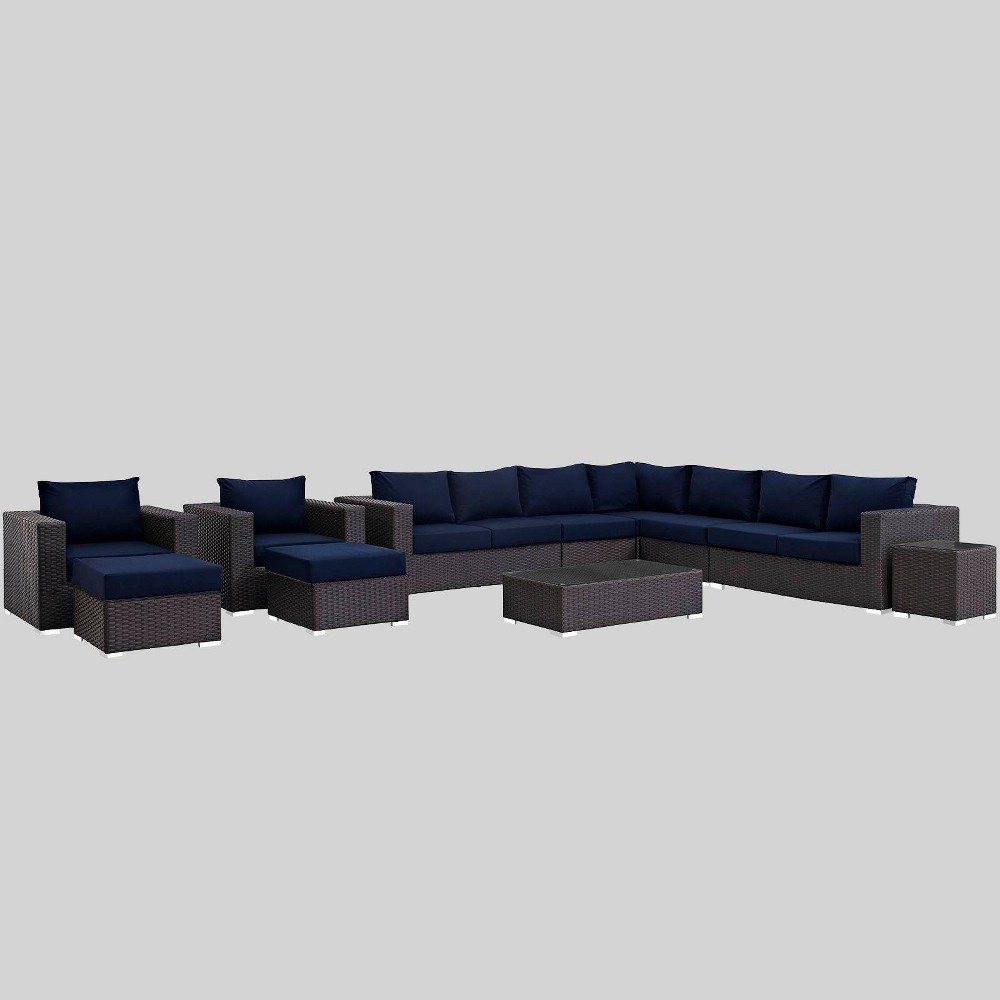 Best Review Sojourn 11pc Outdoor Patio Sectional Set With Sunbrella Fabric Navy Blue Modway