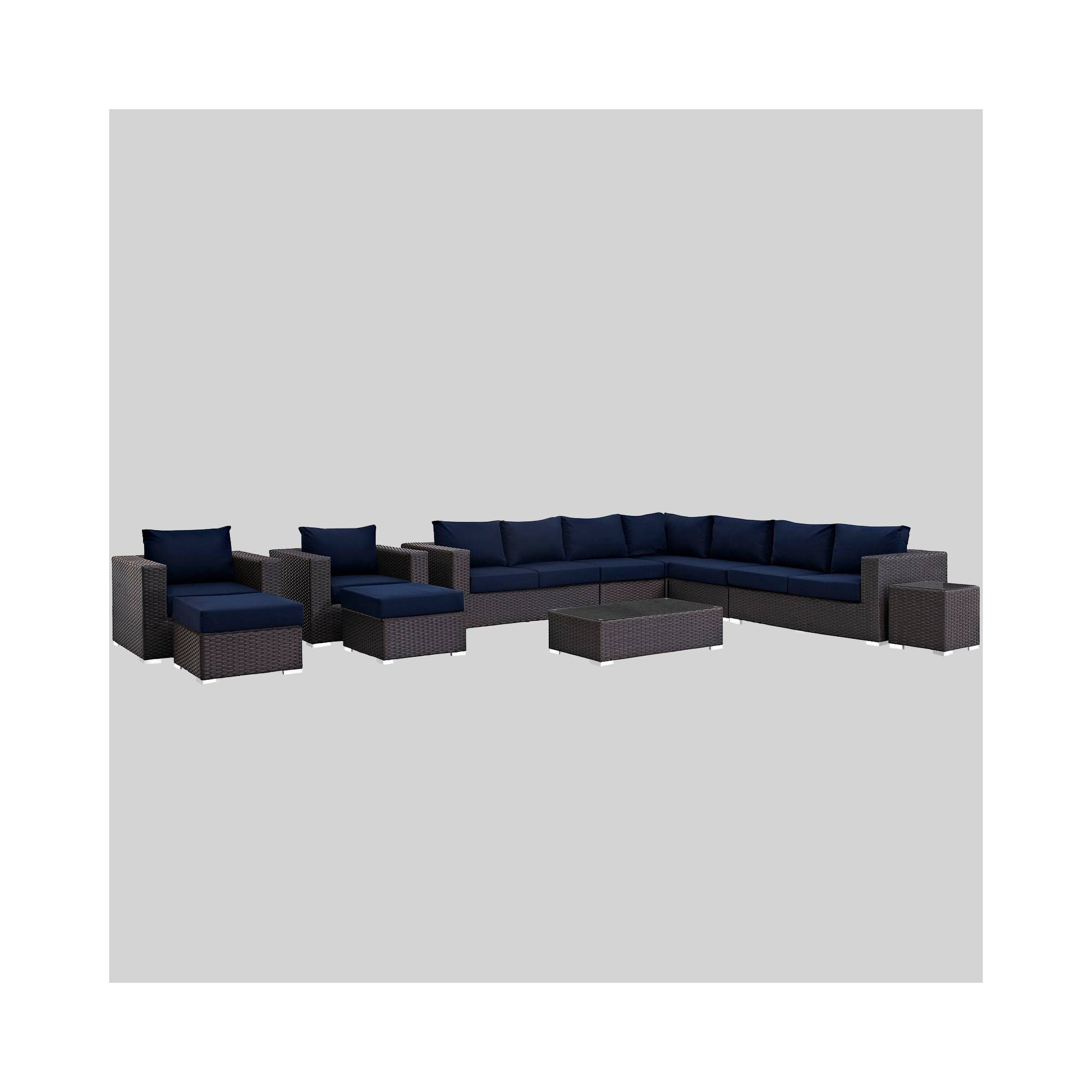 Sojourn 11pc Outdoor Patio Sectional Set with Sunbrella Fabric - Navy (Blue) - Modway