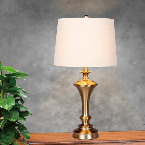 Pedestal Base Metal Table Lamp In Plated Antique Gold Lamp Only