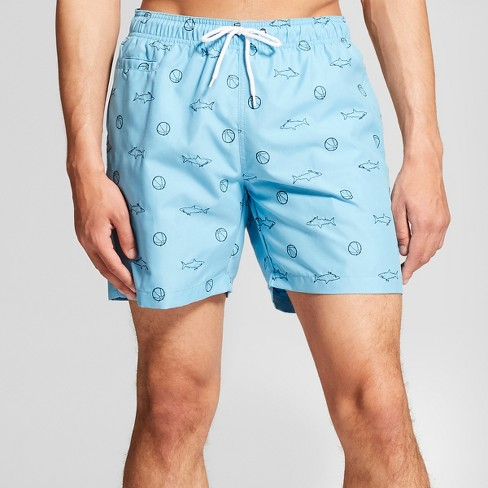 "Trunks Men's 6.5"" San-O Elastic Waist - Blue Sharks & Beach Balls - image 1 of 3"