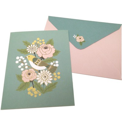 Green Inspired 10ct Bird And Blooms Blank Cards