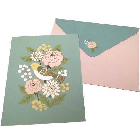 10ct Bird And Blooms Blank Cards - Green Inspired - image 1 of 2